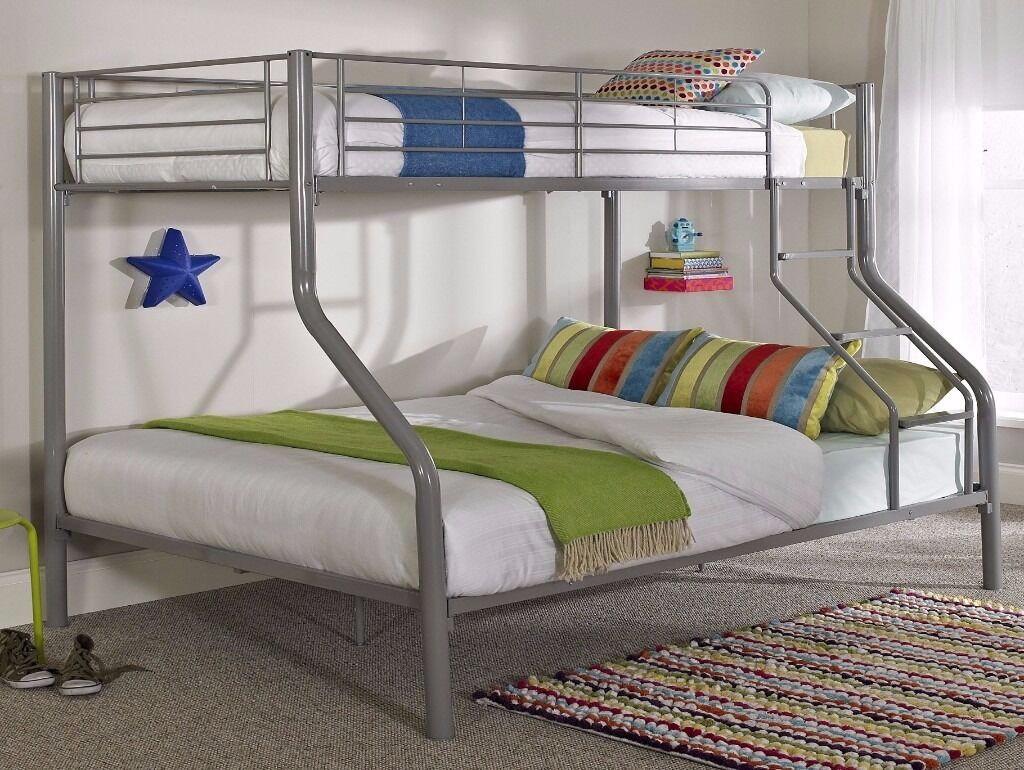 14 Day Money Back Guarantee Triple Metal Bunk Bed And Mattress