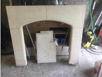 Limestone fireplace surround, mantle piece and hearth