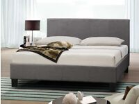 Birlea Berlin 4ft Small Double Grey Upholstered Fabric Bed Frame
