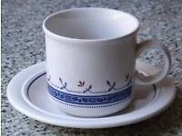 Pair of Biltons Coloroll Blue Greek Cups and Saucers