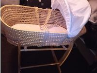Moses basket with Rocking stand, and comes with free baby bath and a push chair £30