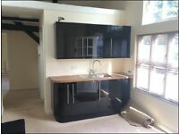 Kitchen, Black High Gloss, with intergrated fridge nearly new