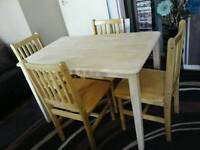 """Pine Table & Chairs.L45""""xW28""""xH29""""."""