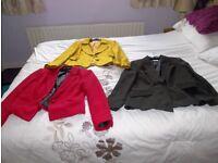 3 Ladies jackets. Mustard , Red, & Dark brown