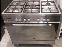 New World DF91 900mm 5 Burner Dual Fuel Range Cooker In Stainless Steel