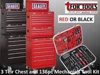 Sealey Tools 14 Drawer TOOLCHEST & 136pc Mechanics Tool Kit TOOL CABINET FULL TOOL SET TOP MIDDLE