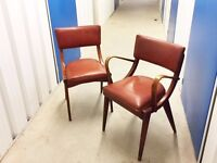 2 1960's mid century beech and vinyl dining chairs by Benchairs of Somerset