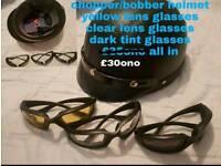 Motorcycle helmet and glasses