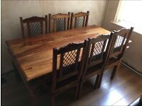Solid Indian Oak Dining Table with 6 chairs
