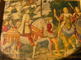 Antique Wall Picture Procession of the Magi by Benozzo Gozzoli fresco.