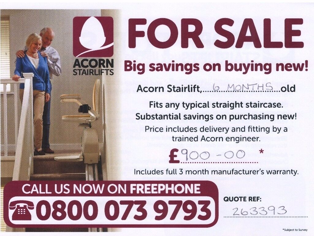 Acorn stairlift - only 6 months old. £900 incl installation and warranty