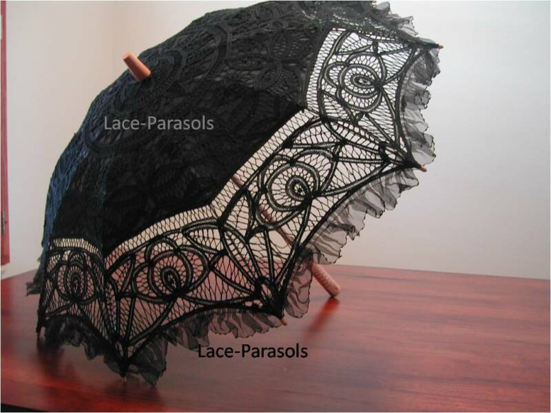Full Black Battenburg Lace Parasol w/Organza Lace