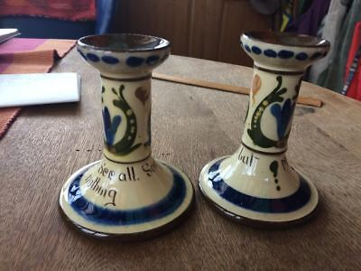 Torquay Devon motto ware candlesticks candle holders
