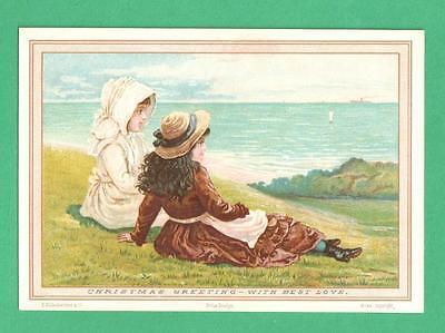Christmas Hills - 1882 HILDESHEIMER HARRY ARNOLD PRIZE DESIGN CHRISTMAS CARD GIRLS HILL SEA BOATS