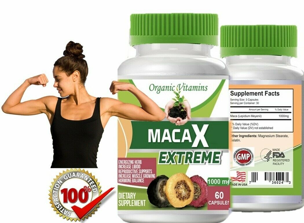 Organic vitamins Maca 1000mg extract 60 caps gold red black blend Energizing Her