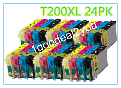 24 Pack T200xl Ink For Epson Xp-200 300 310 400 410 Workf...