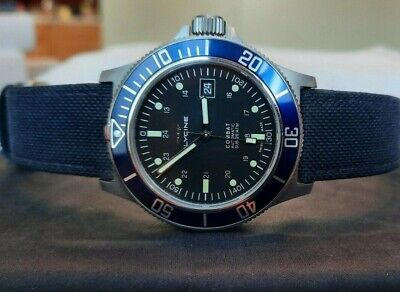 Glycine Combat Sub 42 GL0094 (Blue bezel), Black Dial--Gently Used!