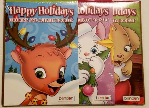 NEW Happy Holidays Activity Coloring Books 3 Pack Reindeer Cat Dog Christmas