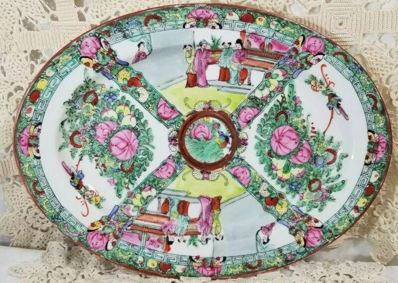 Huge 14x11 Chinese hand painted platter Large Chinese Rose Medallion EUC!
