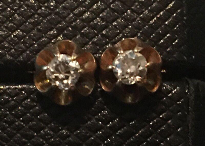 Antique 14k Gold Mine Cut Diamond Stud Earrings 0.8 Grams Screw Backs