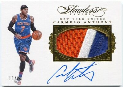 16 Panini Flawless Carmelo Anthony Autograph Patches 3 Color Patch Auto   25