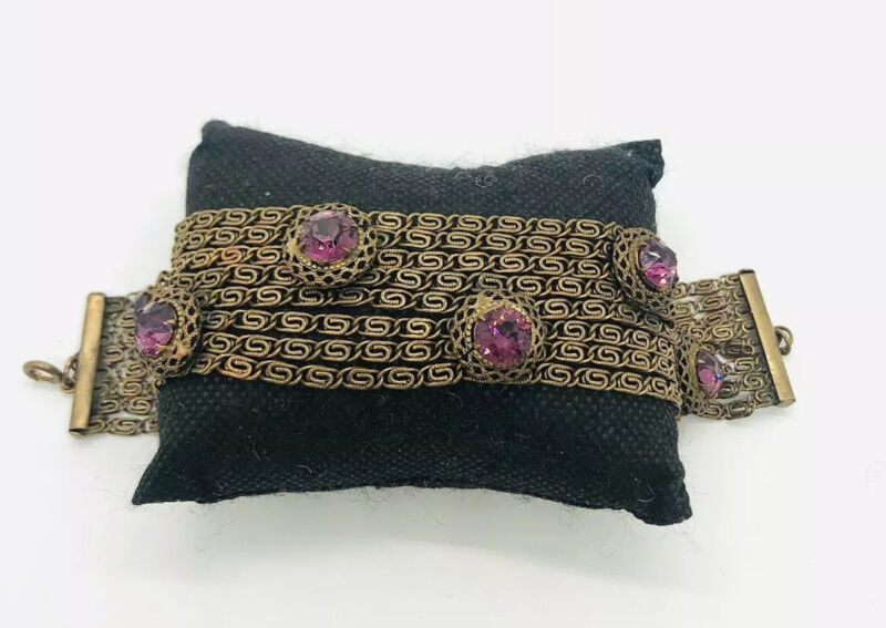 Art Deco Gilt Chain Link & Amethyst Rhinestone Bracelet Unique Vintage Jewelry