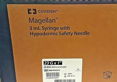 Magellan 3 Ml Syringe With Hypodermic Safety Needle 23 G X 1 50bx