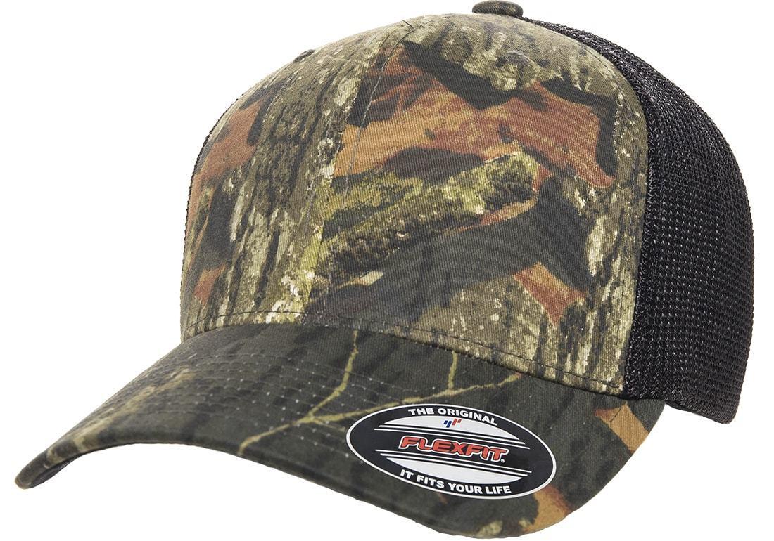 6911 Flexfit® Mossy Oak Hat Stretch Mesh Trucker Cap Mid Pr