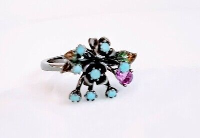 BLUE OPAL AMETHYST BLACK RHODIUM STERLING SILVER RING SIZE 6.5 Blue Opal Sterling Ring