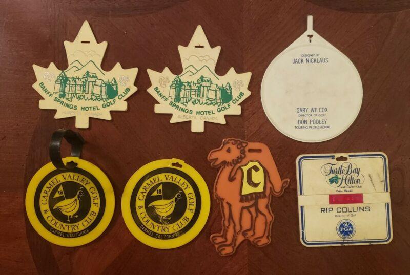 Lot of 7 Golf Bag Tags Camelback Turtle Bay La Paloma Quail Lodge Banff Nicklaus