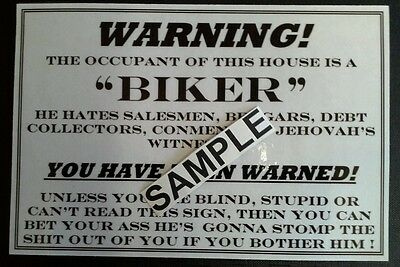 """WARNING - BIKER LIVES HERE"" DOOR - WINDOW SIGN - HARDCORE 1% MOTORCYCLE GIFT"