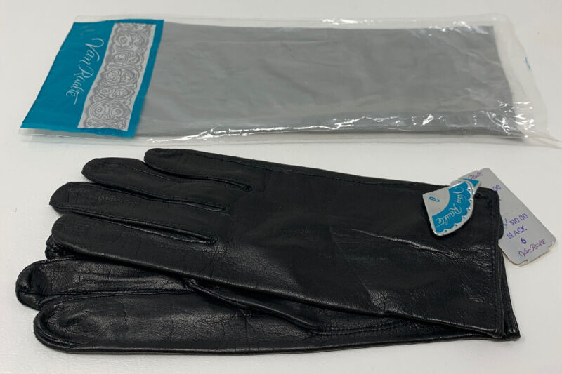 "Van Raalte Ladies Gloves Black Kid Leather Size 6 Women's 8"" NOS New 19-1402R"