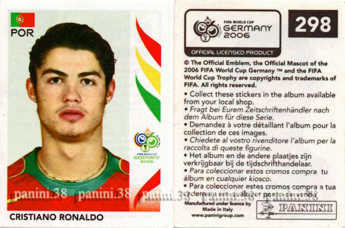 "Rare !! cristiano ronaldo sticker ""world cup germany 2006"" panini"
