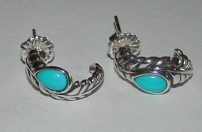Carolyn Pollack Sleeping Beauty Turquoise Sterling Silver Earrings