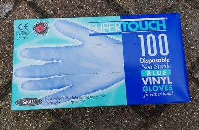 Supertouch Disposable blue Vinyl Gloves  Powdered, size small 1 box 100 gloves