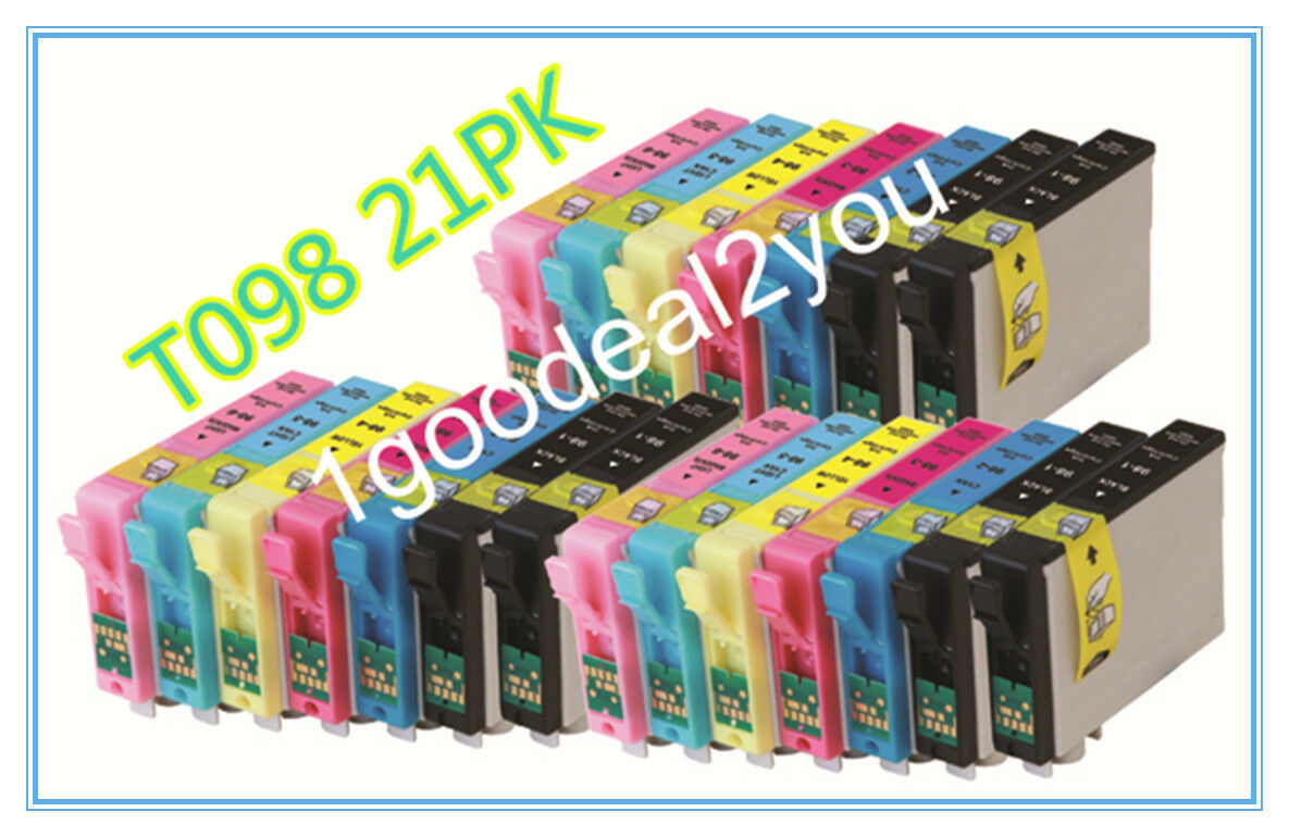 21 Pack Of T098 98 Non-oem Ink For Epson Artisan 700 810 837