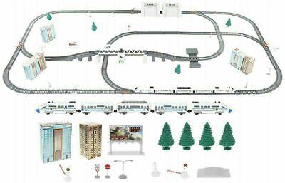 Elektrische Eisenbahn Kinderspielzeug Lok Waggon 9m Schienen Brücke 86tlg.