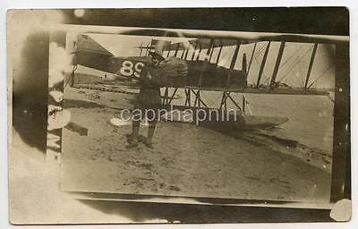 WWI Soldier & Biplane Seaplane Aircraft Curtiss R-9 1910s Real Photo Postcard Aircraft Real Photo