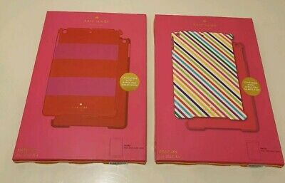 2 Apple iPad Air Covers Kate Spade Snap-On Hard Case - Candy Stripe + Red Pink