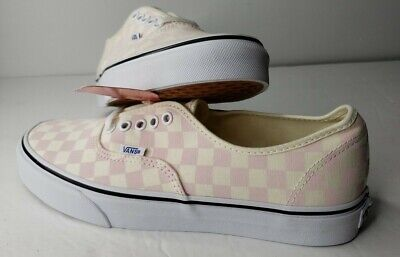 Vans Authentic Checkerboard Classic Canvas Skate Shoes Pink Men 9 Womens 10.5