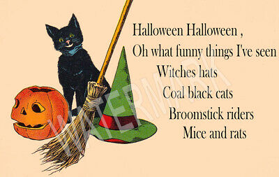 Black Cats Halloween Song (Halloween Song Black cats JOL Witch High Quality Metal Magnet 2.25x4 inches)