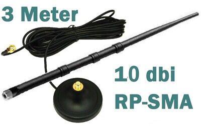 3m RP-SMA Verlängerungskabel + 10dbi Antenne Magnet-Standfuss WLAN WiFi 3 Meter 10-dbi-antenne