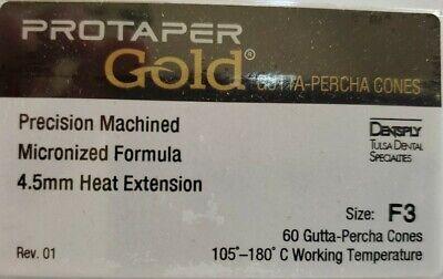 Protaper Gold F3 Gutta Percha Points Dentsply Tulsa Box Of 60 Dental Universal