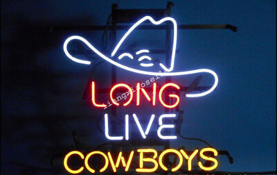 NEW Long Live Cowboys WHITE HAT REAL GLASS NEON SIGN BEER BAR PUB LIGHT - Neon Cowboy Hat