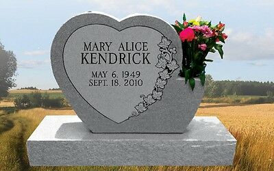 Cemetery Headstone Single heart with Vase