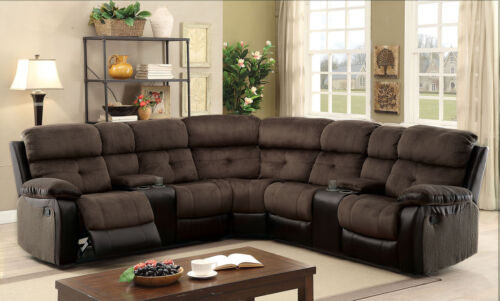 Modern Spacious Recliner Sectional W Consoles Espresso Brown Leatherette Sofa