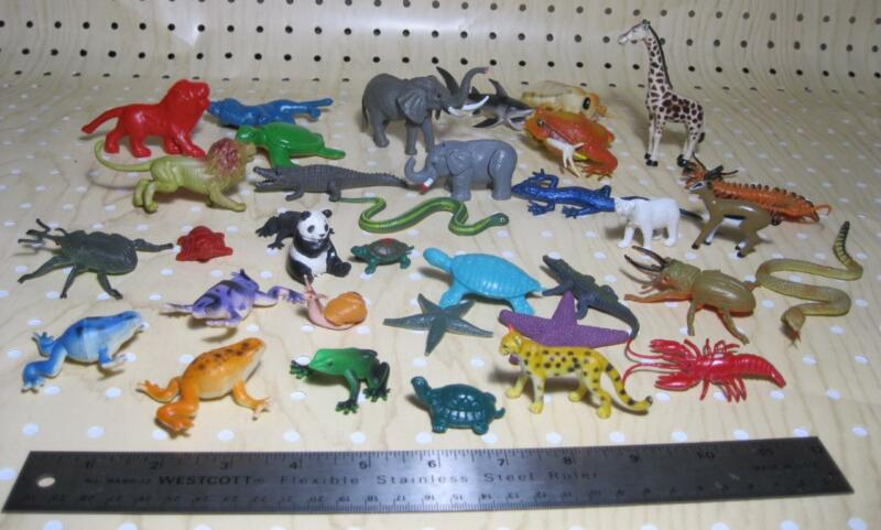 """TOY Animal Lot of 35 REPTILES SEA CREATURES 1-3"""" tall pvc plastic-unmarked"""