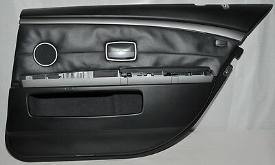 orig. BMW 7 SERIES E66 DOOR CARD PANEL + AIRBAG LEATHER BLACK REAR RIGHT