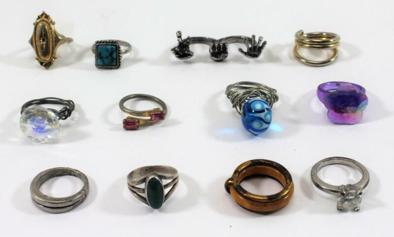 Vintage Costume Ring Mixed Lot ~ 12 Pieces Sizes 5 & 5.5