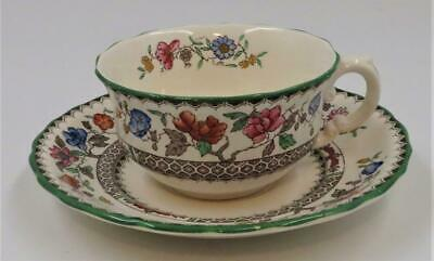 Copeland Spode CHINESE ROSE 629599 Green Trim Floral, Cup & Saucer Set